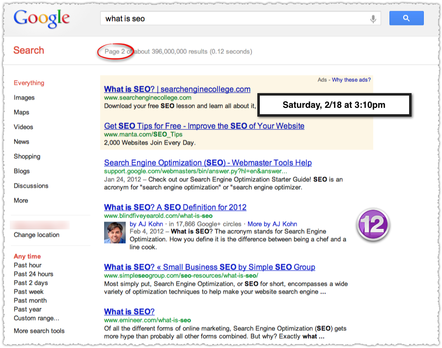What Is SEO Google SERP on February 18th 2012