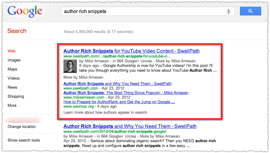 Google Authorship Result Using Article Name Only