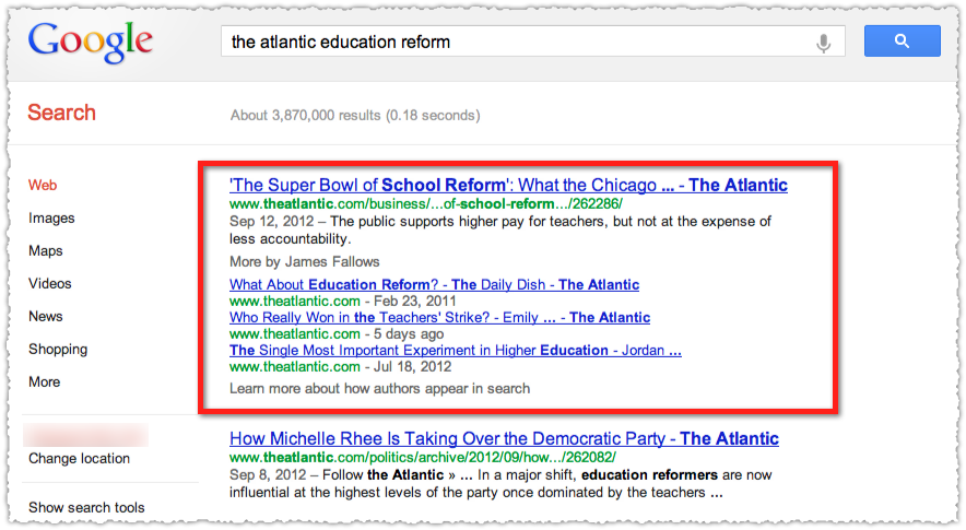 Google Authorship SERP for The Atlantic