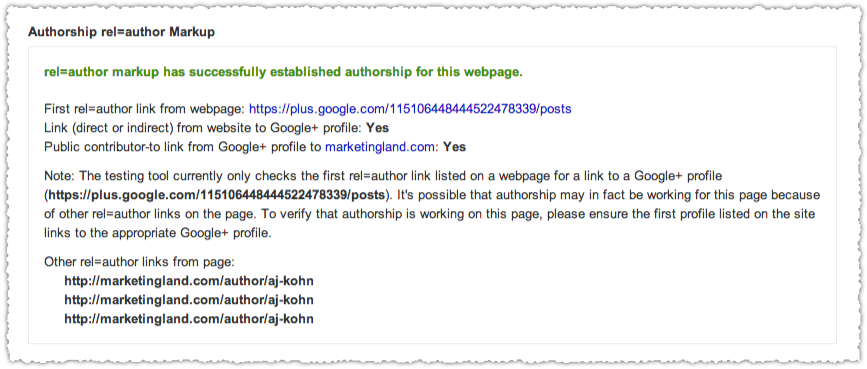 Authorship rel=author Structured Data Testing Tool Results