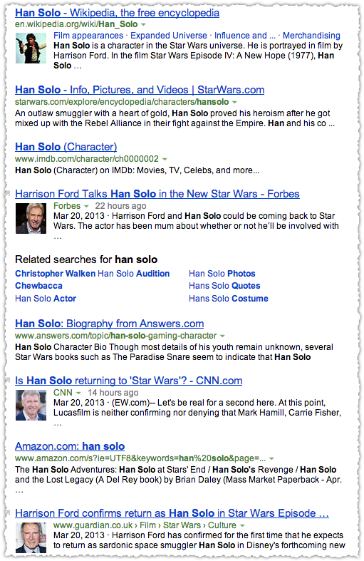 Han Solo People Snippets on Bing