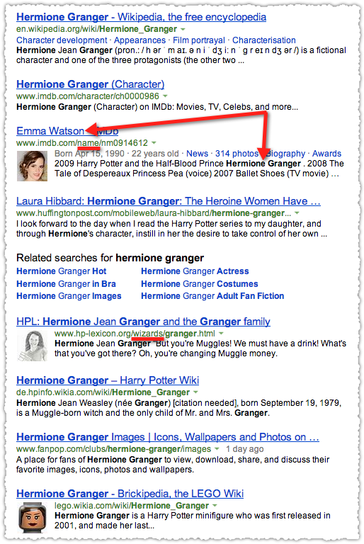 People Snippets for Hermoine Granger on Bing