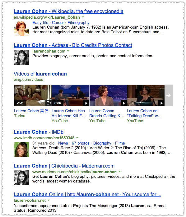 Bing People Snippets for Lauren Cohan