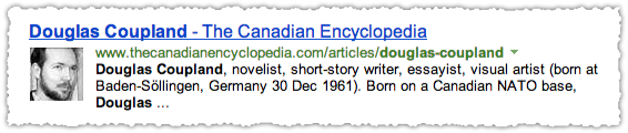 Canadian Encyclopedia People Snippet for Douglas Coupland