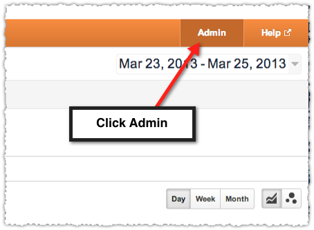 Accessing Admin in Google Analytics