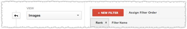 Google Analytics Red New Filter Button