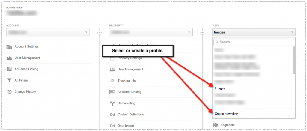 Google Analytics Select or Create a Profile