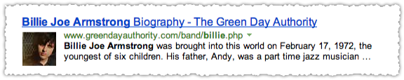Green Day Authority People Snippet for Bille Joe Armstrong