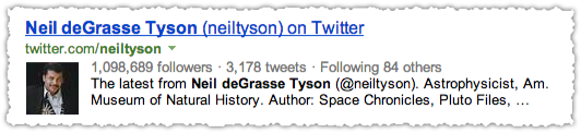 Twitter People Snippet for Neil deGrasse Tyson