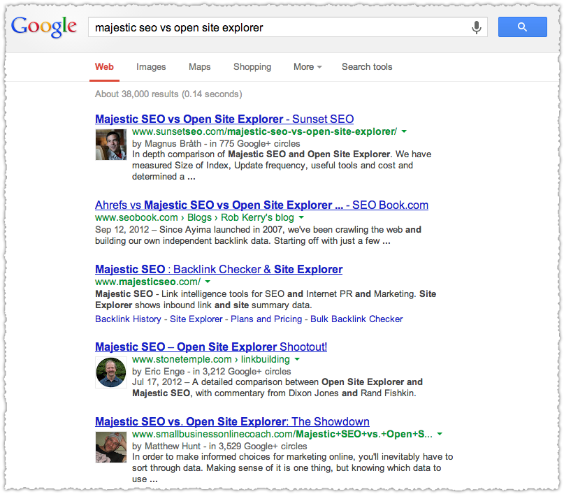 Google SERP for Comparison Intent