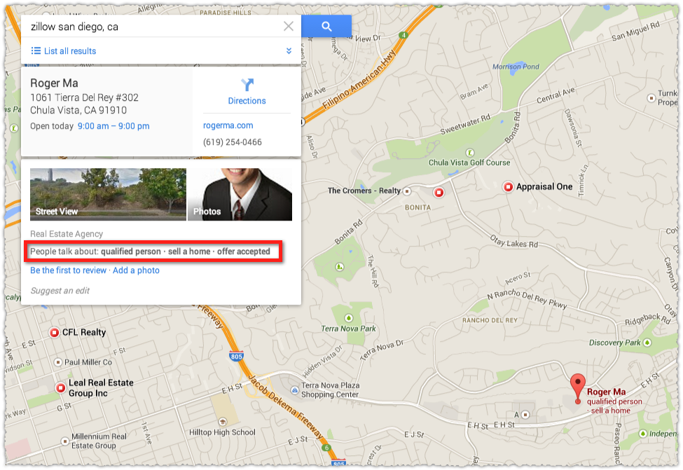 Google Maps Result for Roger Ma