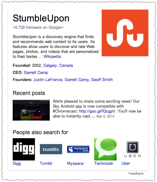Knowledge Card for StumbleUpon