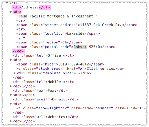 Zillow Definition List Markup