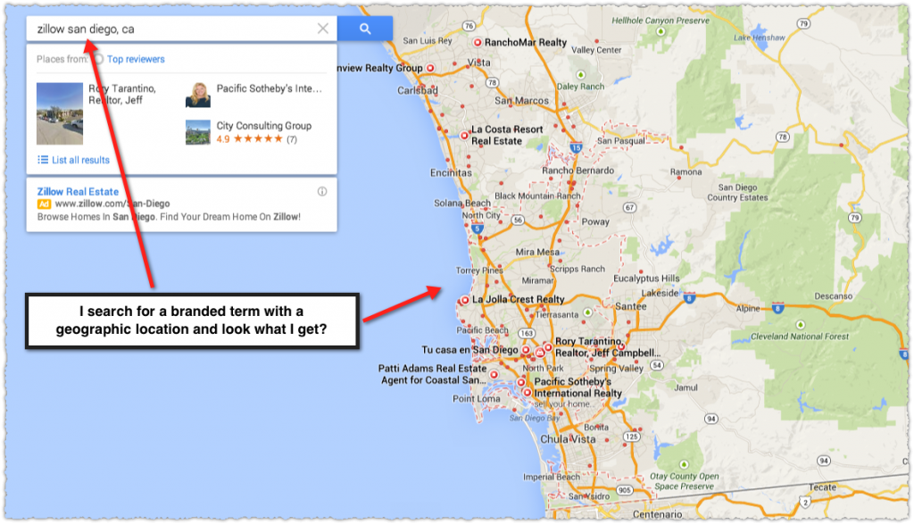 Google Maps Result for Zillow San Diego CA