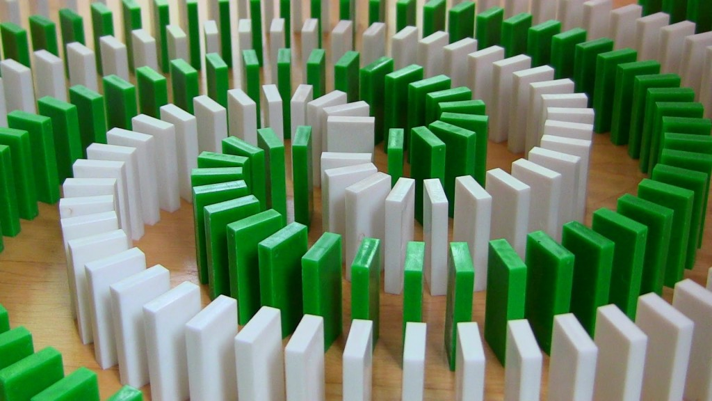 Green and White Dominos Set in Spiral