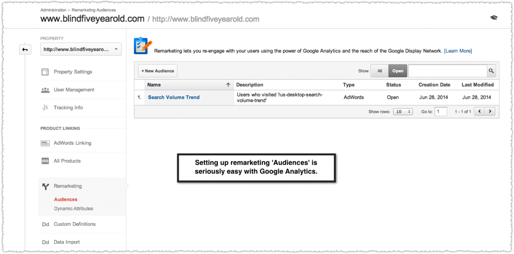 Setting Up Remarketing Lists in Google Analytics