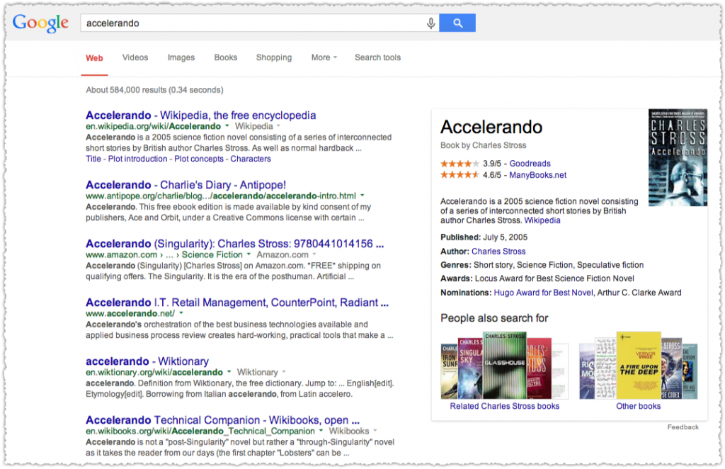 Accelerando Google Knowledge Panel Result