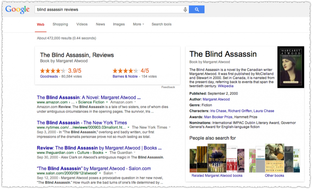 Blind Assassin Reviews Google Onebox
