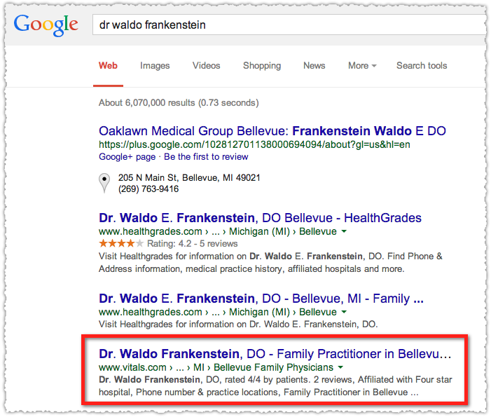 SERP for Dr Waldo Frankenstein