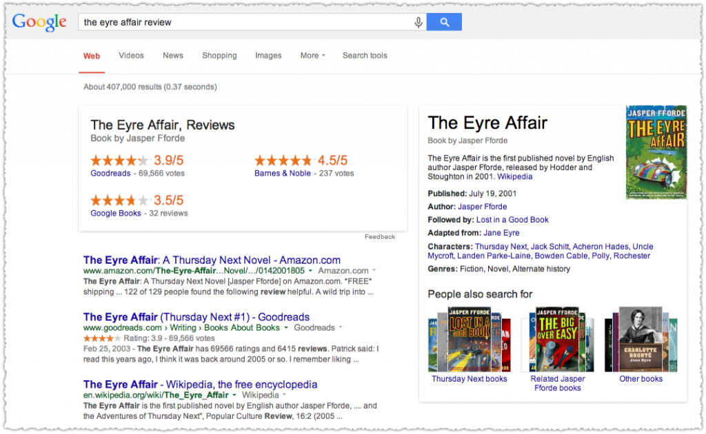 The Eyre Affair Review Google Knowledge Panel Result