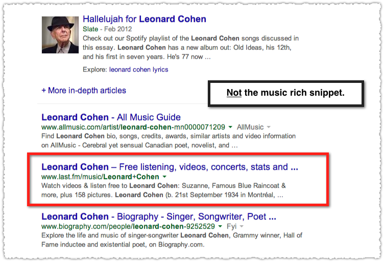 Last.fm Result for Leonard Cohen without a Music Rich Snippet