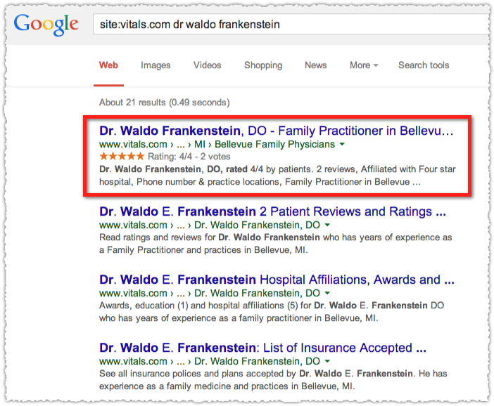 Vitals Site Query for Dr Waldo Frankenstein