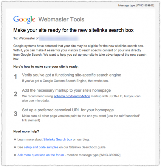 Sitelinks Search Box Email