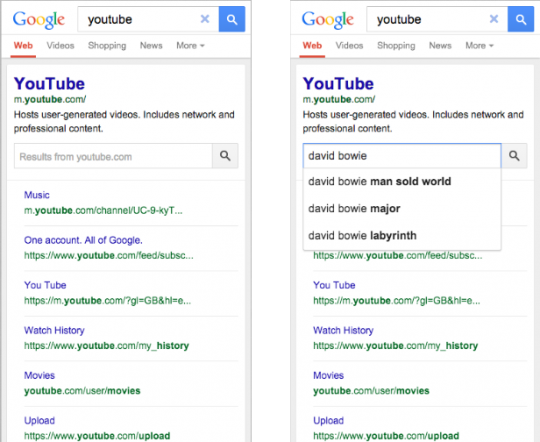 Sitelinks Search Box YouTube Mobile