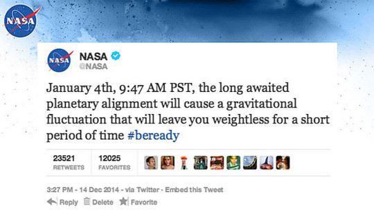 Fake NASA Weightless Tweet