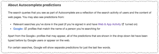 About Google Autocomplete Predictions