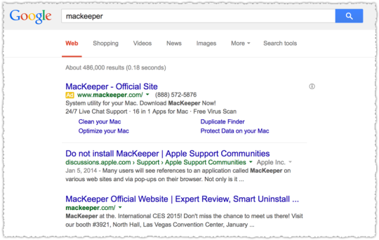 MacKeeper Search Result