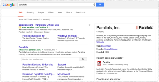 Parallels Search Results