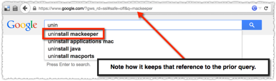 Google Autocomplete for Uninstall after MacKeeper query