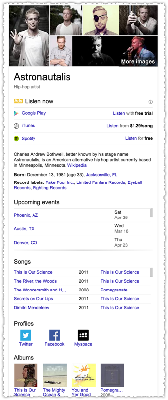Aggregating Intent in Google Knowledge Cards