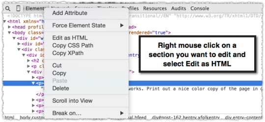 Chrome Developer Tools Edit HTML