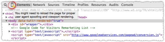 Chrome Developer Tools Viewport Rendering