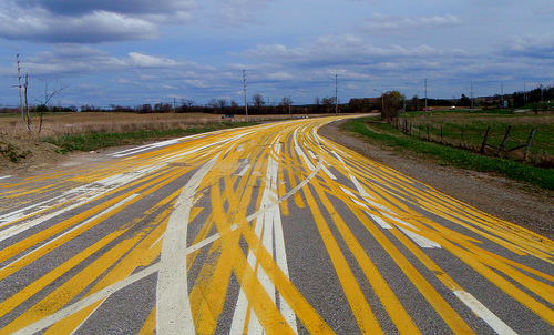 Road Painted With Many Lanes