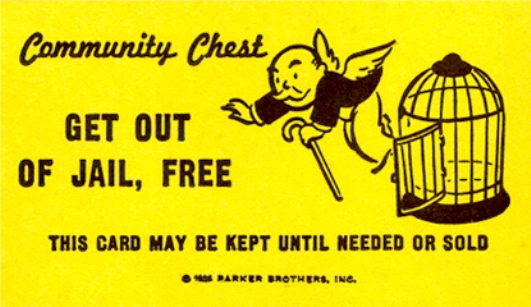 Get Out Jail Free Monopoly Card
